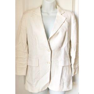 Michael Kors Ivory 3/4 Ruched Sleeve Linen Blazer
